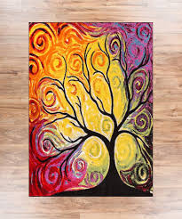 Modern Red Rug by Fairytale Multi Yellow Orange Red Nature Modern Abstract Painting