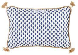 d310 tassel corner navy dot print lumbar pillow