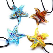 art glass necklace pendant images Gold starfish beaded lampwork murano glass necklace pendant free jpg
