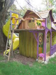 Playhouse Design Playhouse Designed By Yellow Wooden Wall And Wooden Ladder