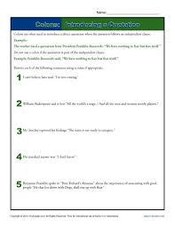 colons introducing a quotation punctuation worksheets