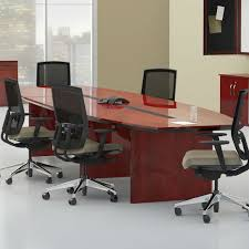 boat shaped conference table mayline corsica 10 boat shaped conference table in sierra cherry