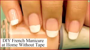 diy french manicure at home without using tape youtube