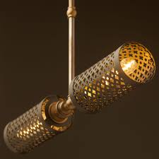 Brass Ceiling Lights Twin Horizontal Mesh Cage Ceiling Light
