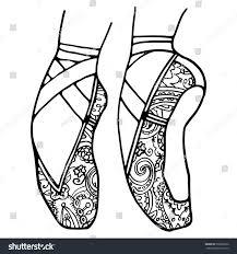 ballet shoes pointe coloring book stock vector 500825950