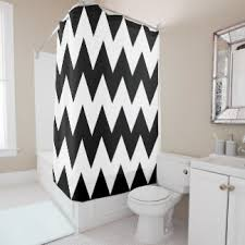 Chevron Pattern Curtains Black White Chevron Pattern Shower Curtains Zazzle