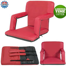 padded stadium chair reclining seat red portable bleacher cushion