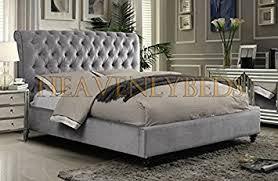 Velvet Sleigh Bed Scroll Studded Sleigh Bed Frame Crushed Velvet Or Chenille Double