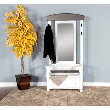 two tone finish hall tree with storage bench u0026 mirror by sunny