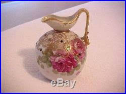 Nippon Hand Painted Vase Antique Hand Painted Nippon Pitcher Vase With Roses U0026 Raised