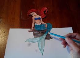 draw ariel mermaid 3d disney