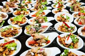 table full of food table full of food at wedding reception stock photo thinkstock