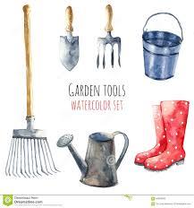 watercolor garden tools stock illustration image 59923936
