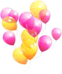 pink and yellow balloons bunch png clipart image birthday