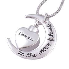 memorial jewelry for ashes i you to the moon and back urn necklace for ashes memorial