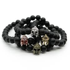black bead bracelet men images Gold color roman knight spartan warrior gladiator helmet bracelet jpg