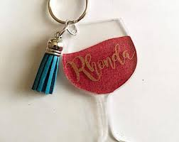wine glass keychain wine glass etsy
