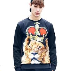 3d crown lion sweatshirt for men black pullover 2017 3d pullover
