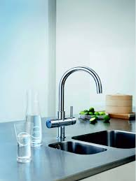 blue faucet by grohe