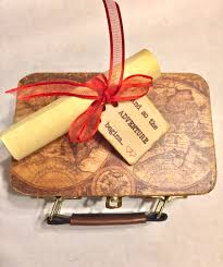 travel gift basket vintage style map suitcase travel themed ring box with