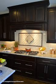 Design Backsplash Kitchen Kitchen Backsplash For Dark Wood Cabinets Design