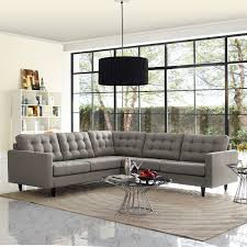 Fabric Sectional Sofas Modway Empress 3 Fabric Sectional Sofa Set In Oatmeal