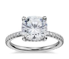cushion cut engagement ring blue nile studio cushion cut pavé crown