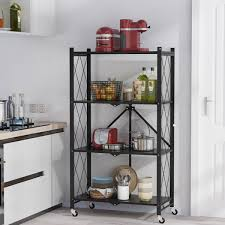 kitchen storage cupboard on wheels multilayer foldable metal storage shelves with wheels