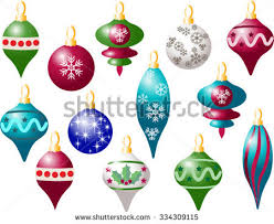 set colorful ornaments decorations stock