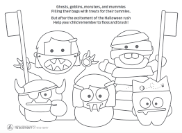 Halloween Monsters Coloring Pages by Halloween Dental Coloring Page Coloring Page