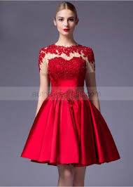 Evening Dress Red Lace Satin Beads Short Sleeves Knee Length Evening Dress