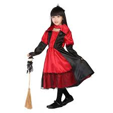 Girls Gothic Halloween Costumes Aliexpress Buy Kids Witch Costume Black Red Gothic Queen