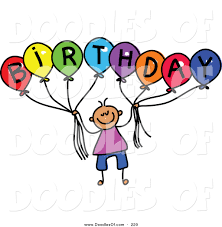 vector clipart of a childs sketch of a boy holding balloons