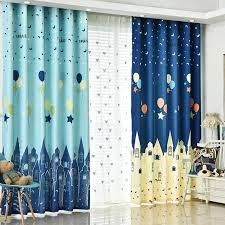 Balloon Curtains For Bedroom Mediterranean Children Room Blue Castle Balloon Curtains