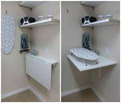 Wall Mounted Laundry Folding Table Interior White Mounted Folding Table And Shelf Hanging On