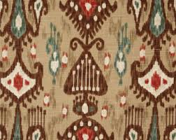 Teal And Red Curtains Red Linen Ikat Upholstery Curtain Fabric Red Aqua Blue