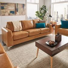 Modern Brown Sofa Bastian Aniline Leather Caramel Brown Sofa Inspire Q Modern