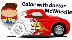 car cartoon learn colors with doctor mcwheelie paint cars and