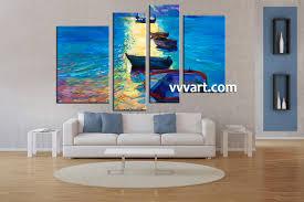 Living Room Paintings 4 Piece Blue Ocean Sunrise Large Canvas