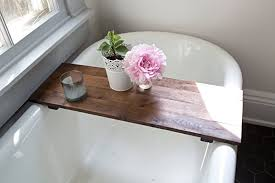 rustic wood bathtub tray walnut bath tub caddy