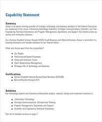 sample capability statement templates u2013 13 free documents