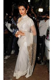 replica deepika padukone in white collar blouse with transparent