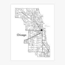 Map Chicago by Chicago Map Print U2014 Archie U0027s Press