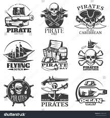 pirates emblem set pirate spirit flying stock vector 479442793