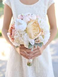 Shabby Chic Wedding Bouquets by Silk Bride Bouquet Cream And Pale Pink Roses And Peonies