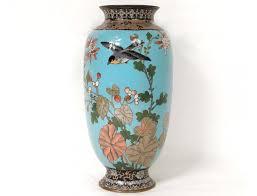 Enamel Vase Cloisonné Enamel Vase Bird Butterfly Flowers Dragons Japan Meiji