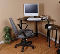nice looking small corner desk design comes with metal glass