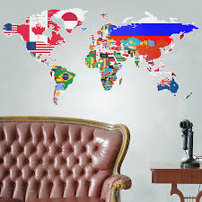 Wall Sticker Australia Flags Of The World Map Wall Sticker By The Binary Box