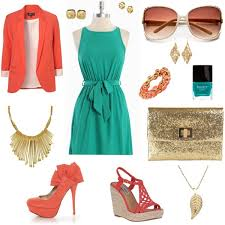blue dress with coral gold accessories i love fashion
