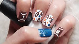 football nails cute u0026 easy design youtube